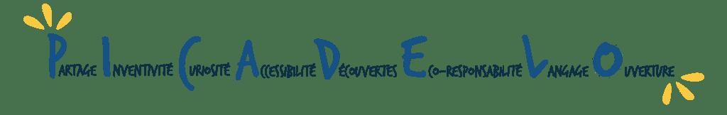 Partage inventivité curiosité accessibilité découvertes eco responsabilité langage ouverture
