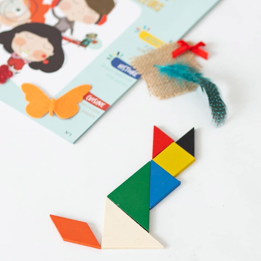 Tangram en bois - modèle du chat - jeu pour enfant - concentration