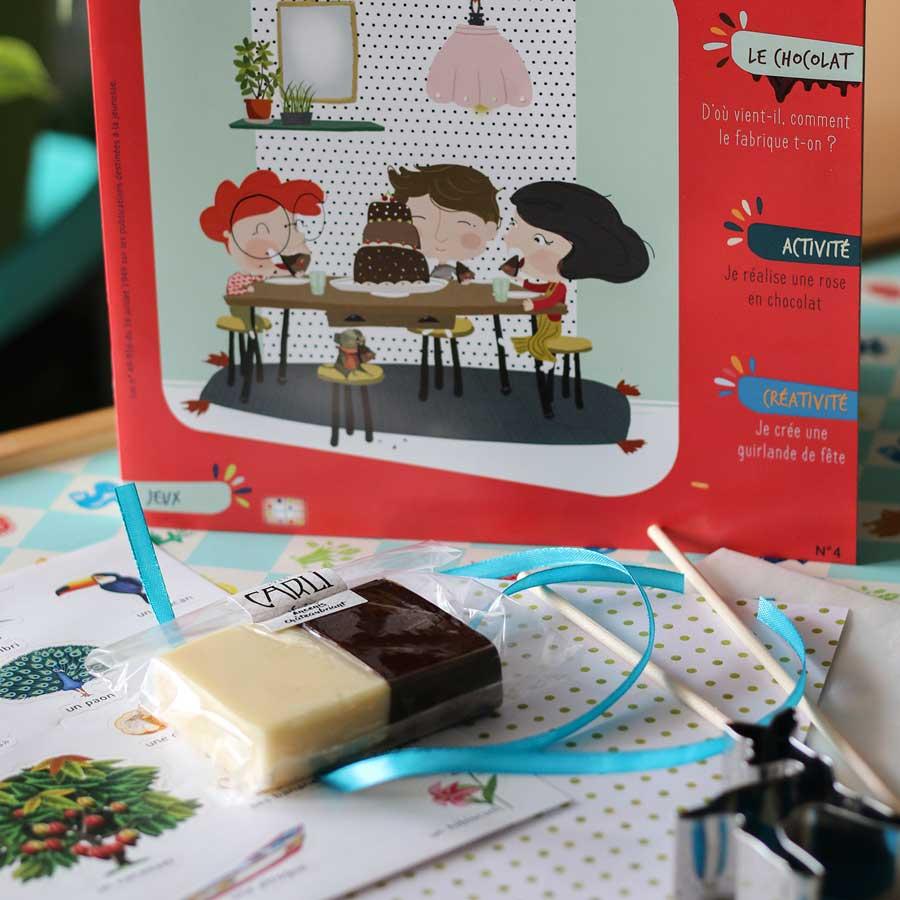 Kit d'activité pour enfant autour du chocolat - jeux, magazine, loisirs à la maison avec pâte à modeler