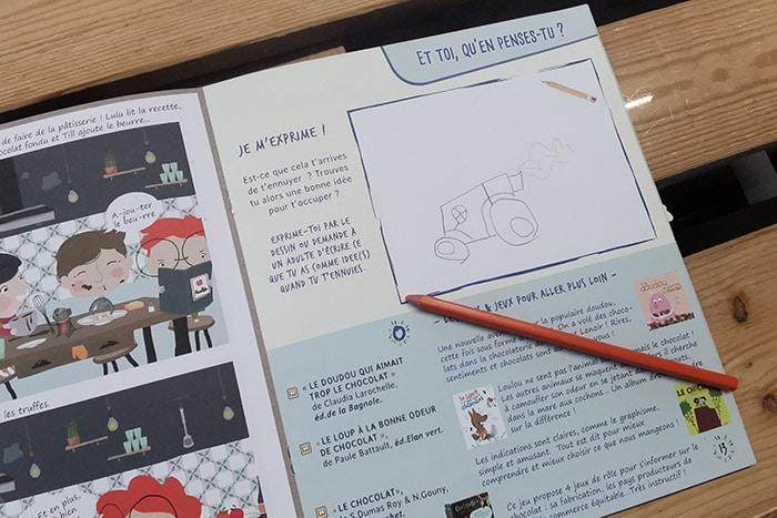 une page pour permettre à l'enfant de s'exprimer par le dessin ou en dictant à l'adulte